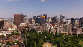 Boston Aerial. V25 Flying low over Beacon Hill towards downtown