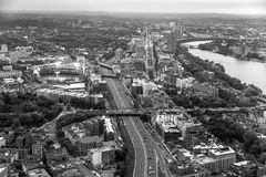 Boston aerial view  with cityscape and buildings. Royalty Free Stock Images