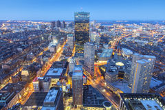 Boston. Aerial view of Boston in Massachusetts, USA at sunset stock photography