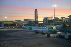 Boston Airport at sunrise, Boston, Massachusetts, USA Royalty Free Stock Photos