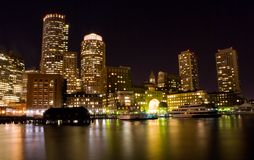 Boston alla notte Fotografie Stock