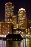 Boston alla notte Fotografia Stock