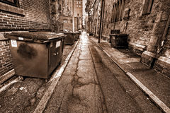 Boston Alley. Sepia view of a Tipical Boston Alley in Massachusetts, USA Royalty Free Stock Photos