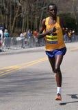 BOSTON - APRIL 18: Elite men runners races up the Heartbreak Hill during the Boston Marathon April 18, 2016 in Boston. Royalty Free Stock Image
