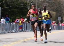 BOSTON - APRIL 18: Elite men runners races up the Heartbreak Hill during the Boston Marathon April 18, 2016 in Boston. Royalty Free Stock Photo