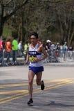 BOSTON - APRIL 18: Elite men runners races up the Heartbreak Hill during the Boston Marathon April 18, 2016 in Boston. Stock Photos