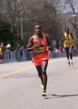 BOSTON - APRIL 18: Elite men runners races up the Heartbreak Hill during the Boston Marathon April 18, 2016 in Boston. Royalty Free Stock Images