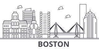 Boston architecture line skyline illustration. Linear vector cityscape with famous landmarks, city sights, design icons royalty free illustration