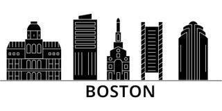 Boston-Architekturvektor-Stadtskyline, Reisestadtbild mit Marksteinen, Gebäude, lokalisierten Anblick auf Hintergrund Stockbild