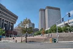 BOSTON, AUG - 20: Turyści chodzą wzdłuż miasto ulic, Sierpień 20, 20 Zdjęcia Stock