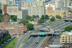 Boston Back Bay Skyline and I-90, Boston, USA. Boston Back Bay and Interstate Highway I-90 Massachusetts Turnpike in Boston, Massachusetts, USA royalty free stock photo
