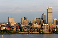 Boston Back Bay Skyline. View of the Boston, MA Skyline of Back Bay, including the landmark Prudential Tower. Seen from near Kendall/MIT across the Charles river Royalty Free Stock Images