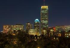 Boston Back Bay skyline. View of Boston's Back Bay skyline at night royalty free stock images