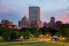 Boston Back Bay Skyline at Sunset from the Boston Common Hill. Boston Back Bay Skyline taken from the Boston Common Hill, the most ancient city park in the Royalty Free Stock Photography