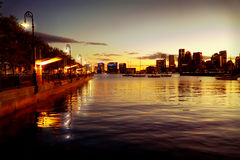 Boston back bay view at night after sunset Royalty Free Stock Photos