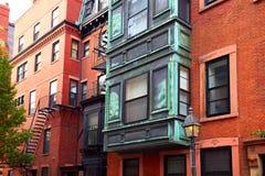 Boston Beacon Hill brick wall facades Massachusetts Stock Photos