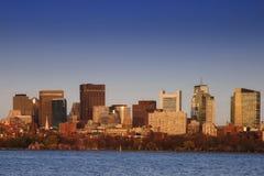 Boston bij Schemer Royalty-vrije Stock Afbeelding