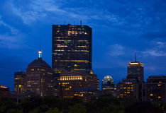Boston bij Schemer Stock Foto