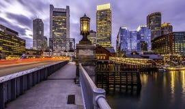 Boston bij zonsondergang Stock Afbeeldingen