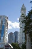Boston blue skylines. Skycrapers near the clock tower of Boston, Massachusetts Royalty Free Stock Photos