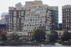 Boston bostads- arkitektur Arkivfoto