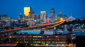 Boston bridge and Boston city, USA stock photos