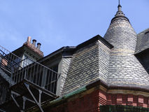 Boston Brownstone Rooftop. Detail of the roof and peaks on an old brownstone building in boston massachusetts on newbury street Royalty Free Stock Photo