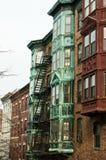 Boston brownstones stock images