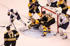 Boston Bruins defense in action. Stock Photo