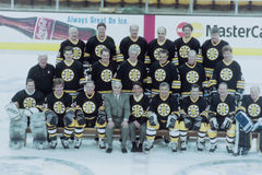 Boston Bruins Old-timers team. Boston Bruins alumni team featuring Phil Espositio, Ken Hodge, Gerry Cheevers, Reggie Lemelin Johnny Bucyk, Rick Middleton, Barry Royalty Free Stock Image
