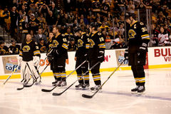 Boston Bruins starting line-up Stock Image