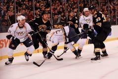 Boston Bruins v. Nashville Predators. Game between the Boston Bruins and Nashville Predators gets physical Stock Photo