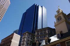 Boston buildings. A mixture of old and new buildings fills the sky of boston on a sunny day in early spring Stock Photo
