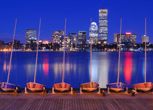 Boston Buildings. Docked boats against the cityscape of Back Bay Boston, Massachusetts, USA from across the Charles River Stock Photo
