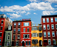 Boston buildings. Row of brick houses in Boston historical North End Royalty Free Stock Photography