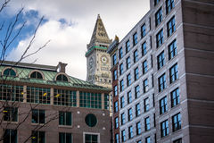 Boston buildings and Custom House Clock Tower - Boston, Massachusetts, USA. Boston buildings and Custom House Clock Tower in Boston, Massachusetts, USA Stock Photos