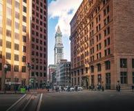 Boston buildings and Custom House Clock Tower - Boston, Massachusetts, USA royalty free stock images
