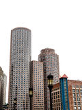 Boston Buildings on White Background Royalty Free Stock Images
