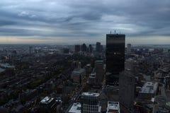 Boston céntrica en la puesta del sol Imagen de archivo