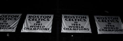 Boston-Celtics-Meisterschafts-Fahnen Lizenzfreie Stockfotos
