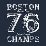 Boston Champ - typography for design clothes, athletic t-shirt. Graphics for print product, apparel. Badge for original sportswear. Vector illustration Stock Photo
