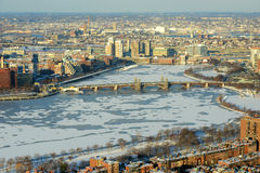 Boston Charles River and Back Bay, Boston. Boston Longfellow Bridge across Charles River and Back Bay apartment in winter, Boston, Massachusetts, USA Stock Photography