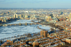 Boston Charles River and Back Bay, Boston. Boston Longfellow Bridge across Charles River and Back Bay apartment in winter, Boston, Massachusetts, USA Stock Photos