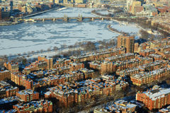 Boston Charles River and Back Bay, Boston. Boston Longfellow Bridge across Charles River and Back Bay apartment in winter, Boston, Massachusetts, USA Royalty Free Stock Photography