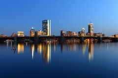 Boston Charles River and Back Bay skyline at night. Boston Back Bay Skyline John Hancock Tower and Prudential Center night scenes, viewed from Cambridge, Boston royalty free stock photo
