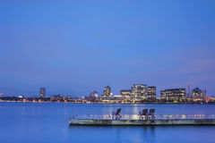 Boston Charles River Basin at night Stock Image