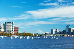 Boston and Charles river view from Harvard Bridge Stock Photography