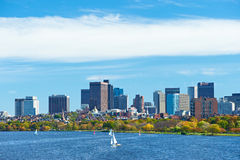Boston and Charles river view from Harvard Bridge Stock Image