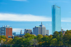 Boston and Charles river view from Harvard Bridge Royalty Free Stock Photography