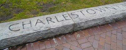 Boston Charlestown gravyr i en sten - BOSTON, MASSACHUSETTS - APRIL 3, 2017 Arkivfoto